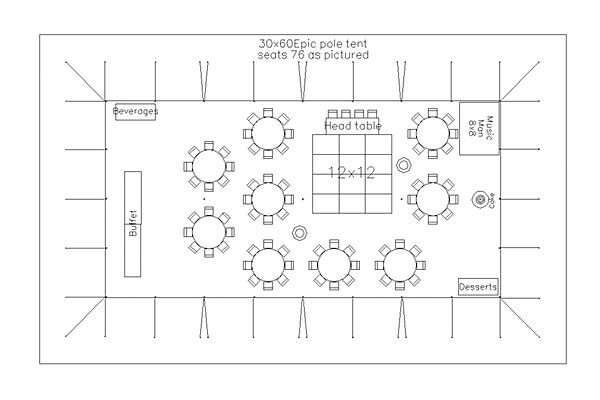 Tents events sample layout for 75 attendees for Banquet room layout planner